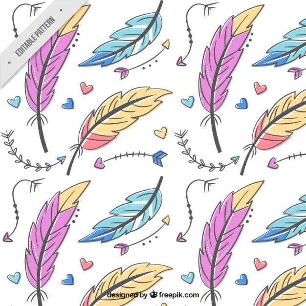 Patrón de plumas y flechas de colores dibujadas a mano   Descargar ...