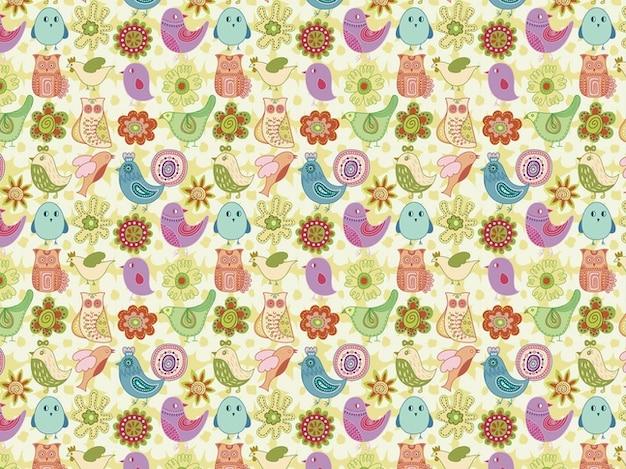 Flores Horizontales Dibujos Animados Patrón De Fondo: Patrón De Un Pájaro De Dibujos Animados