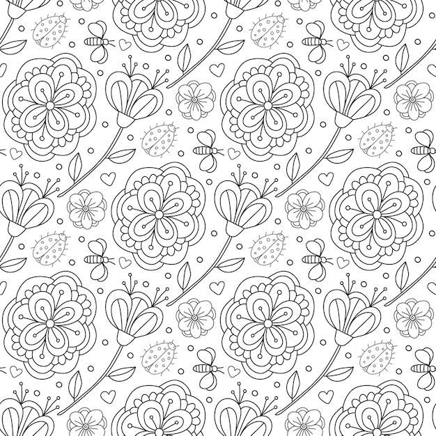 Patrón de vector doodle con flores y mariquita. página de libro para ...