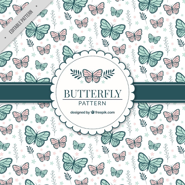 Patrón decorativo con mariposas y plantas Vector Gratis