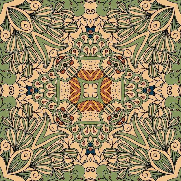 Patrón decorativo floral verde y beige. Vector Premium