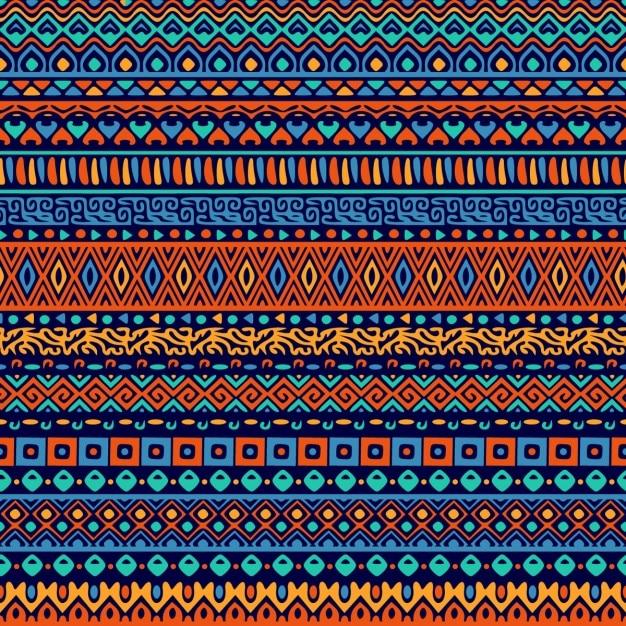 Patrón decorativo de formas ornamentales étnicas vector gratuito