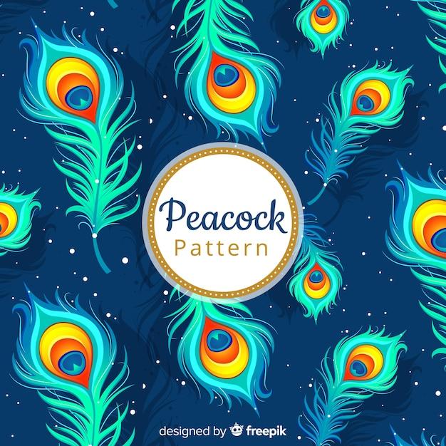 Patrón decorativo de plumas de pavo real vector gratuito