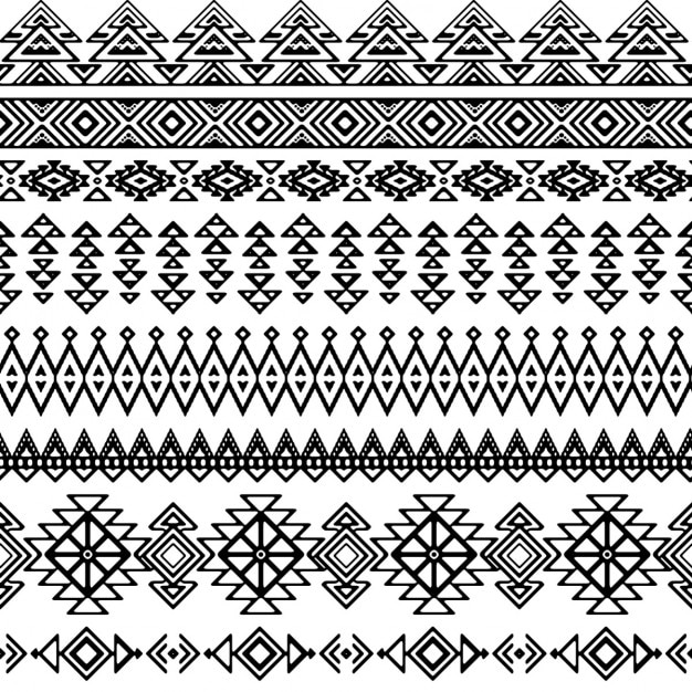 Patrón decorativo tribal en blanco y negro vector gratuito