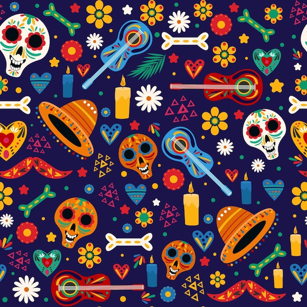 Patrón de dia de muertos en diseño plano vector gratuito