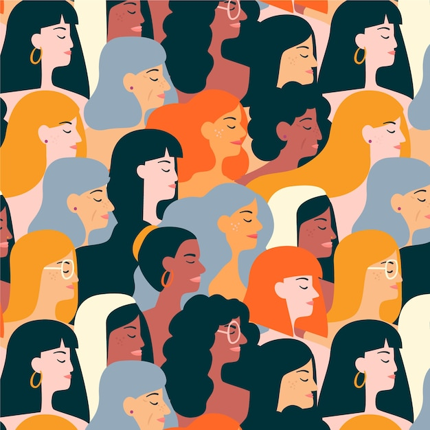 Patrón del día de la mujer con caras de mujeres vector gratuito
