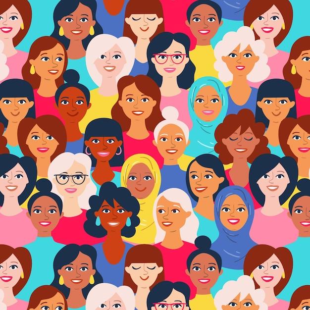 Patrón del día de la mujer con diversos rostros de mujeres. vector gratuito