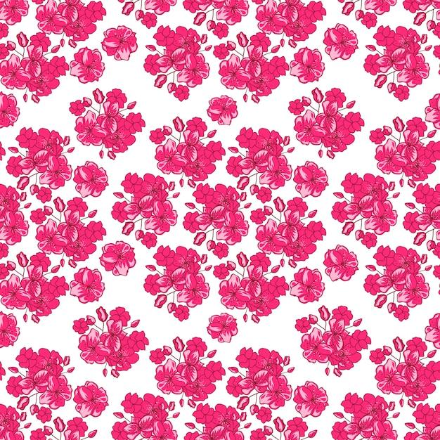 Patrón del día de san valentín con flor de cerezo japonés vector gratuito