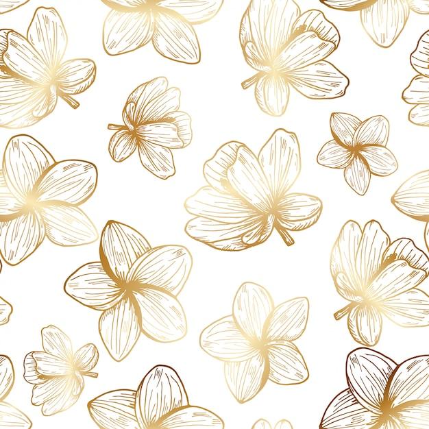 Patrón dibujado a mano de flores tropicales de oro Vector Premium