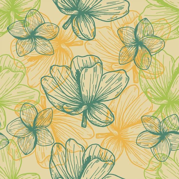 Patrón dibujado mano vintage flores tropicales Vector Premium