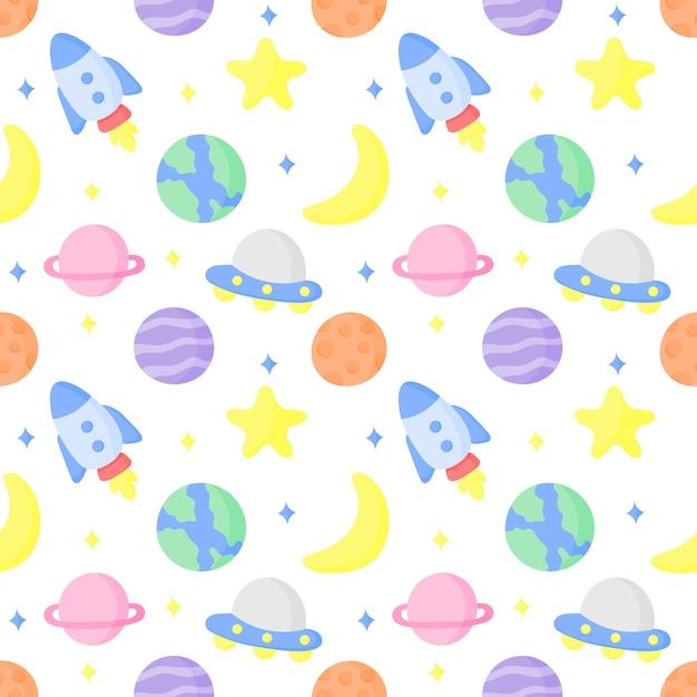 Patrón de dibujos animados de patrones sin fisuras y planetas Vector Premium