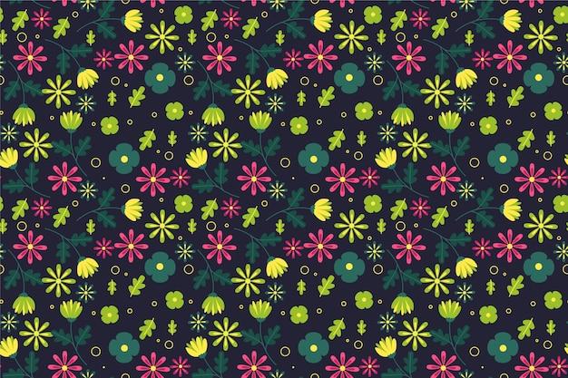 Patrón ditsy en fondo de flores pequeñas vector gratuito