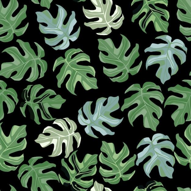Patrón de doodle transparente floral simple con adorno de monstera. Vector Premium