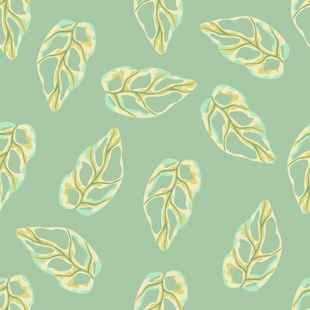 Patrón de doodle transparente con formas simples de monstera amarillo. fondo verde claro Vector Premium