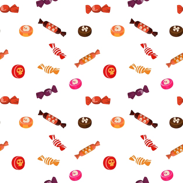 Patrón de dulces de halloween   Descargar Vectores Premium