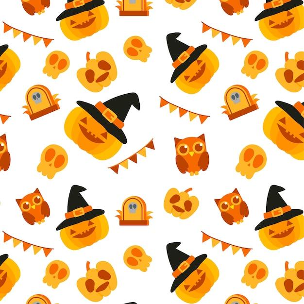 Patrón de elementos de halloween.   Descargar Vectores Premium