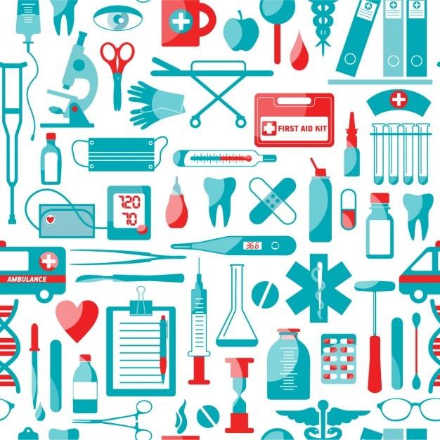 Patrón de elementos médicos y de salud vector gratuito