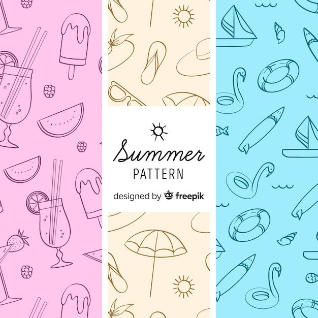 Patrón elementos de verano coloridos vector gratuito