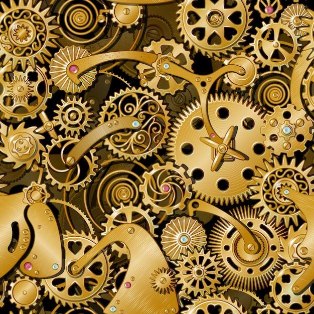 Patrón de engranajes dorados vector gratuito