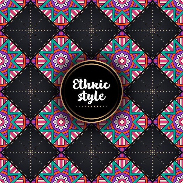 Patrón étnico ornamental de lujo vector gratuito