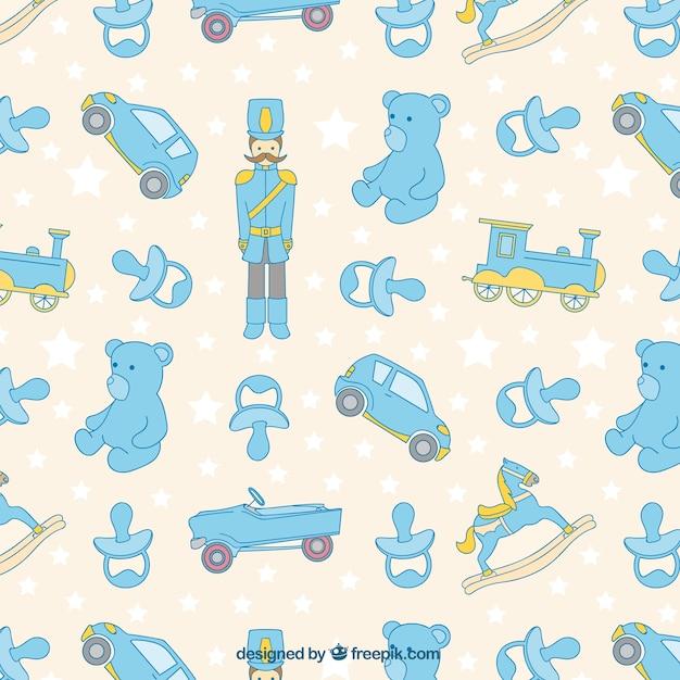 Patrón fantástico con juguetes para bebés y estrellas | Descargar ...