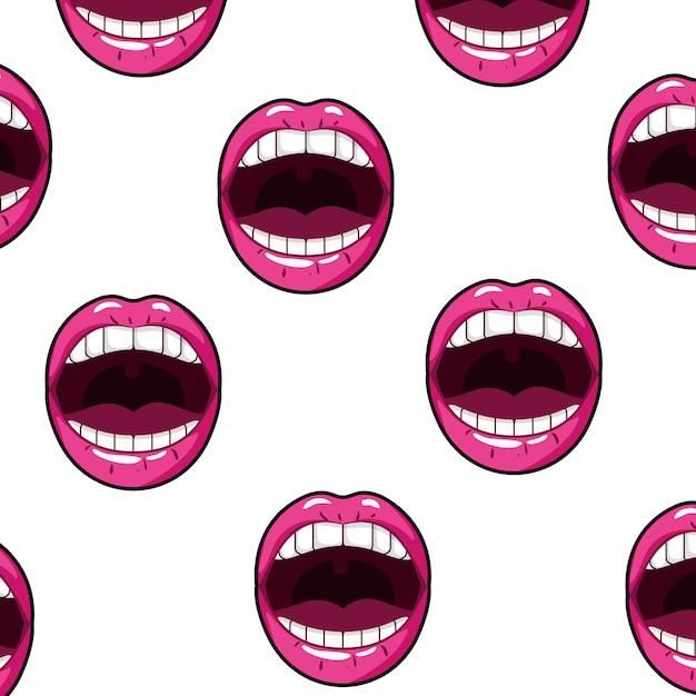 Patrón femenino boca estilo pop art Vector Premium