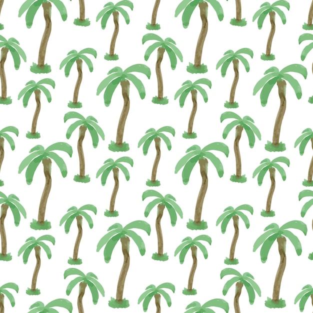 Patrón sin fisuras con acuarela palmeras. textura de vector de impresión sin fin. viajes de fondo tropical. Vector Premium