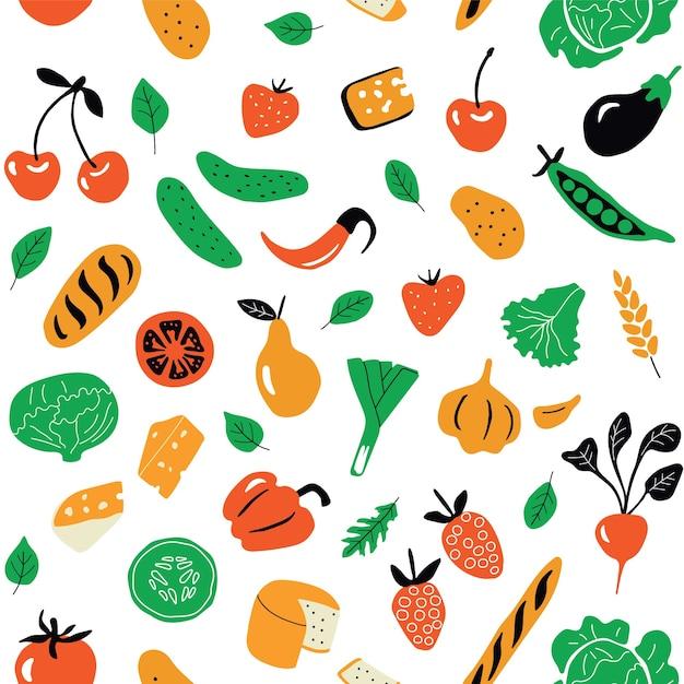 Patrón sin fisuras con alimentos saludables, productos orgánicos. Vector Premium