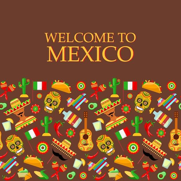 Patrón sin fisuras con atributos tradicionales mexicanos. Vector Premium