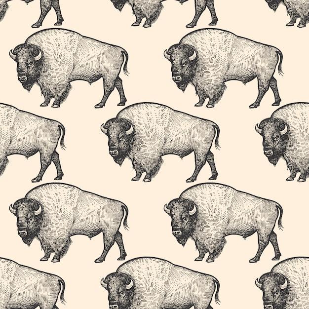 Patrón sin fisuras con el bisonte. Vector Premium