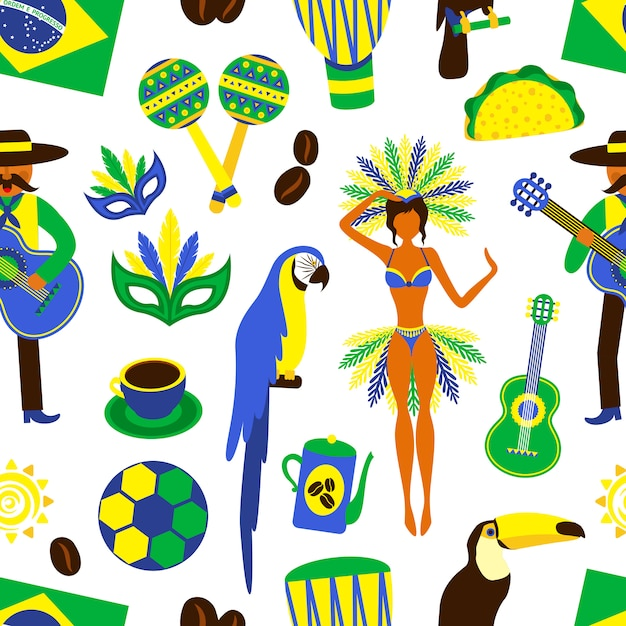 Patrón sin fisuras de brasil vector gratuito