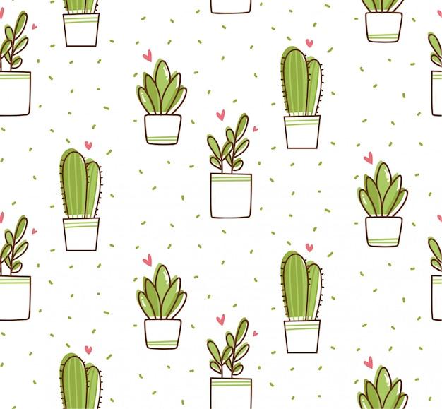 Patrón sin fisuras de cactus en estilo doodle de kawaii Vector Premium