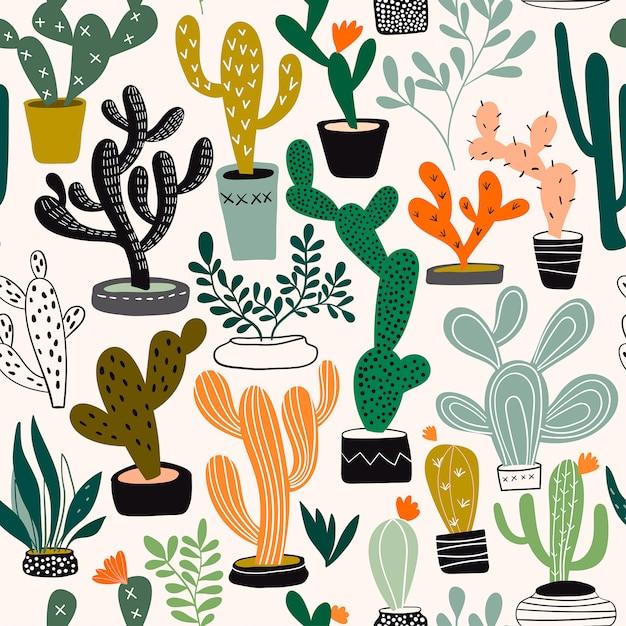 Patrón sin fisuras con cactus y plantas tropicales. Vector Premium