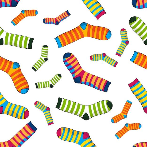 Patrón sin fisuras de calcetines a rayas | Descargar Vectores Premium