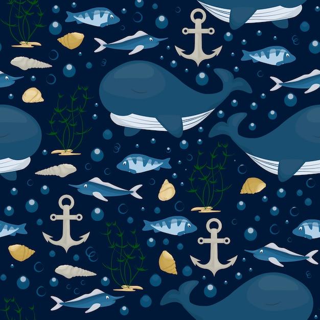 Patrón sin fisuras de carácter ballena jorobada. mamífero marino del mar en el océano azul Vector Premium
