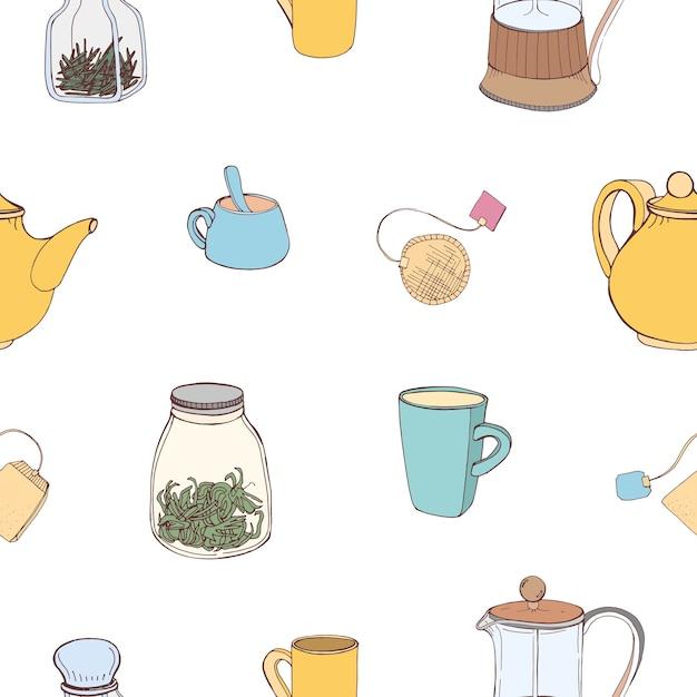 Patrón sin fisuras con coloridos utensilios de cocina dibujados a mano e ingredientes para hacer y beber té Vector Premium