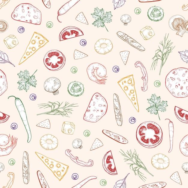 Patrón sin fisuras con deliciosas coberturas de pizza o ingredientes dibujados a mano con líneas de contorno de colores sobre fondo claro Vector Premium