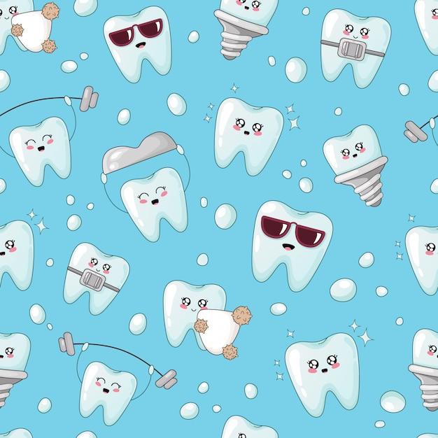 Patrón sin fisuras con los dientes kawaii con diferentes emoji Vector Premium