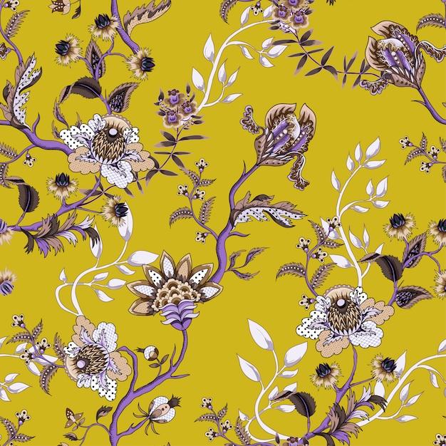 Patrón sin fisuras con elementos de adornos étnicos japoneses. folk flores y hojas para imprimir o bordar. Vector Premium