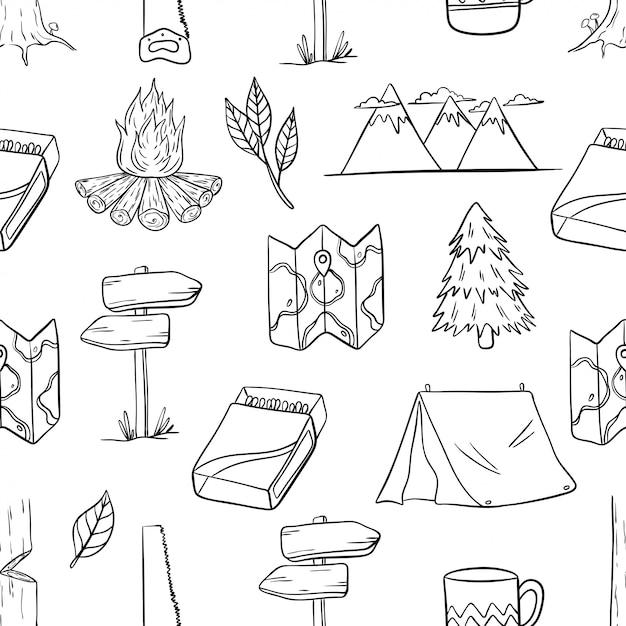 Patrón sin fisuras de elementos de camping y senderismo con estilo dibujado a mano Vector Premium