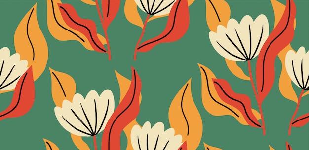 Patrón sin fisuras con una flor en colores vibrantes. Vector Premium