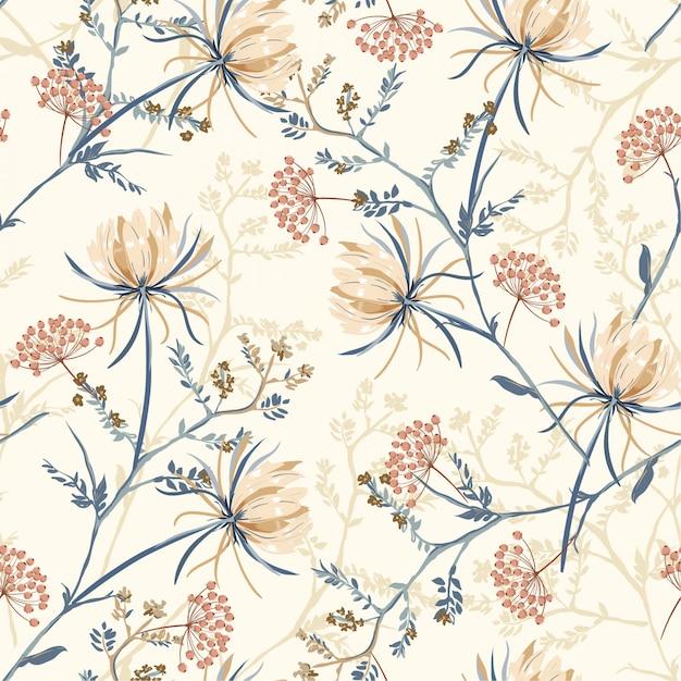 Patrón sin fisuras de la flor floreciente oriental Vector Premium
