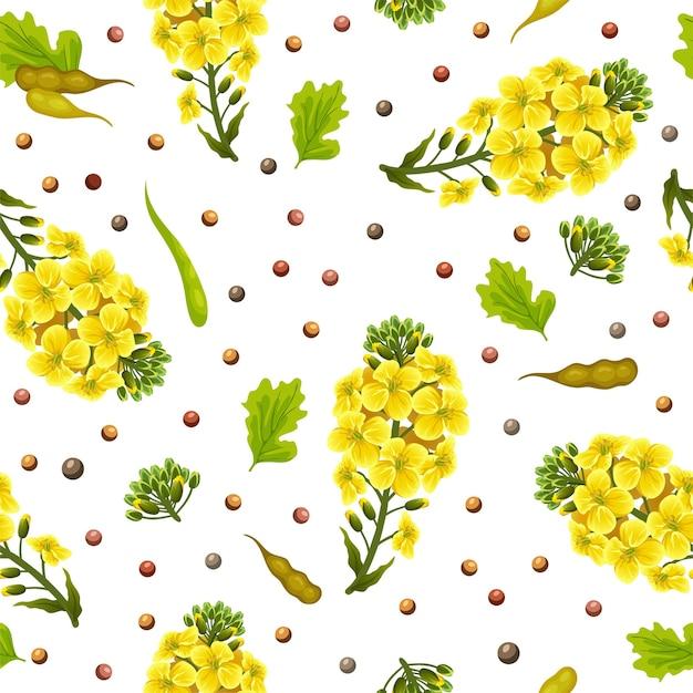 Patrón sin fisuras de flores y hojas de violación, canola. vector gratuito