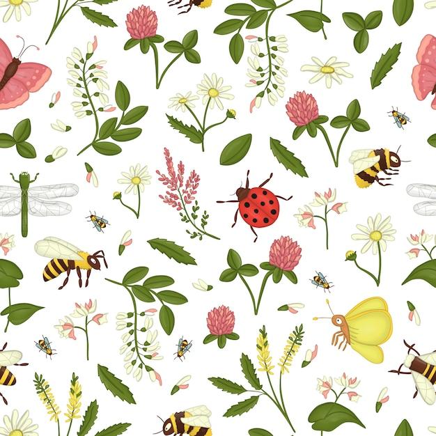 Patrón sin fisuras con flores silvestres, abejas, abejorros. Vector Premium
