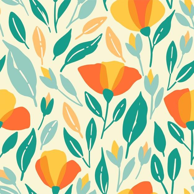 Patrón sin fisuras de flores silvestres. ilustración de vector poppys con flores amarillas Vector Premium