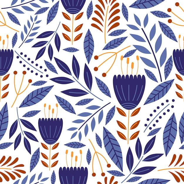 Patrón sin fisuras de flores vintage con dibujo de decoración botánica Vector Premium