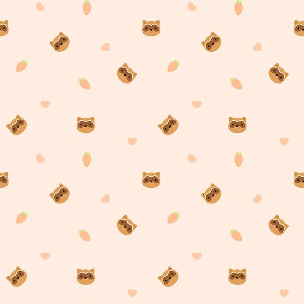 Patrón sin fisuras de fondo de mapache animal | Descargar Vectores ...