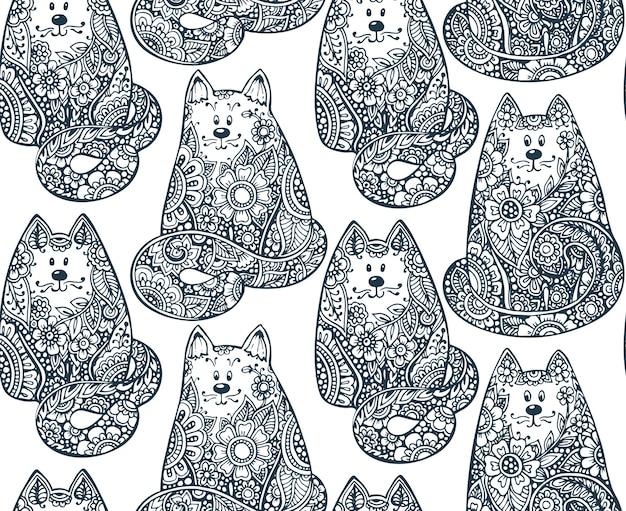 Patrón sin fisuras con gatos gráficos dibujados a mano doodle con adornos florales. ilustración para tela, libro para colorear, impresión en diferentes objetos Vector Premium