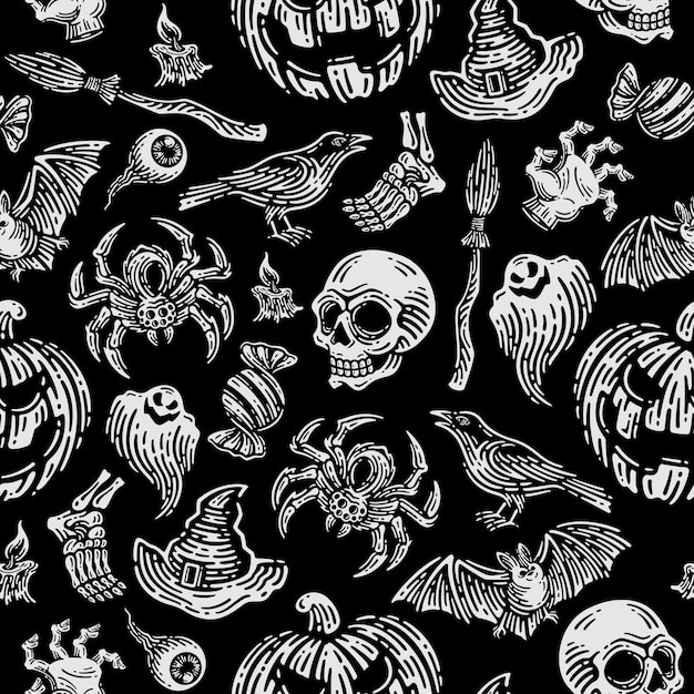 Patrón sin fisuras de halloween en fondo oscuro. Vector Premium