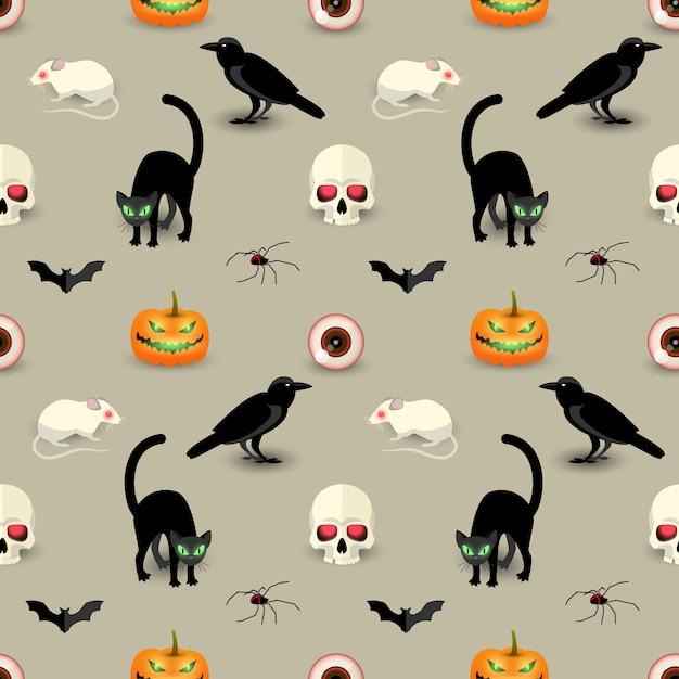 Patrón sin fisuras de halloween tradicional con cráneo gato negro cuervo murciélago araña calabaza rata ojo humano vector gratuito